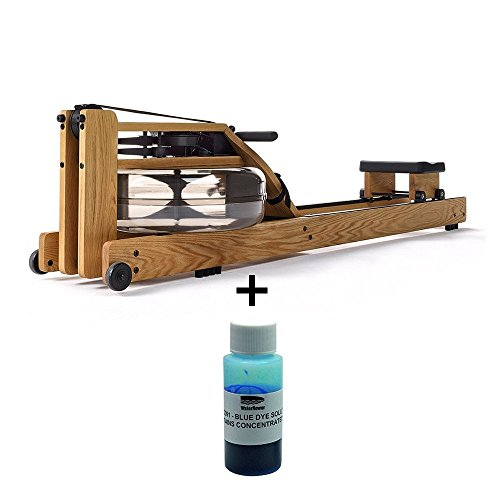 Waterrower Eiche Rudergerät inkl. blauer Wasserfarbe Fitnessgeräte für zuhause und Bauch Beine Po Rower klappbar Fitnessgerät aus Holz und Water Rower Eiche mit S4 Monitor waterrower rudergeräte
